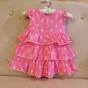 Carter's pink flamingos ruffle dress